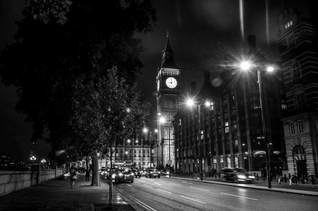 Big Ben by night in black and white