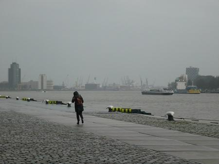 tegenwind - Op deze grauwe dag liep de vrouw  moeizaam tegen de regen en wind in over de verlaten Holland Amerikakade. - foto door willem4772 op 15-01-2020 - deze foto bevat: water, rotterdam, regen, kade