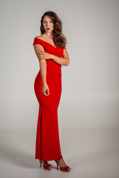Long cool woman in a red dress
