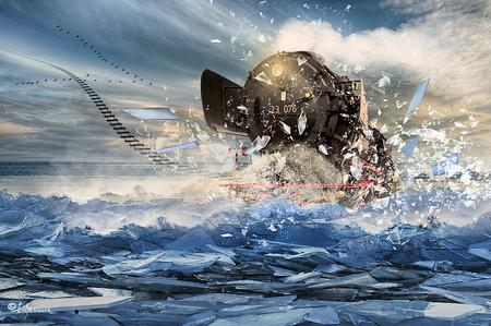 IJsbreker - ..... - foto door Lifeware op 08-02-2013 - deze foto bevat: trein, ijs, stoomtrein, photoshop, locomotief, vsm, lifeware, kruiend ijs