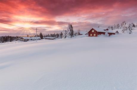 Zonsondergang in Sjusjoen