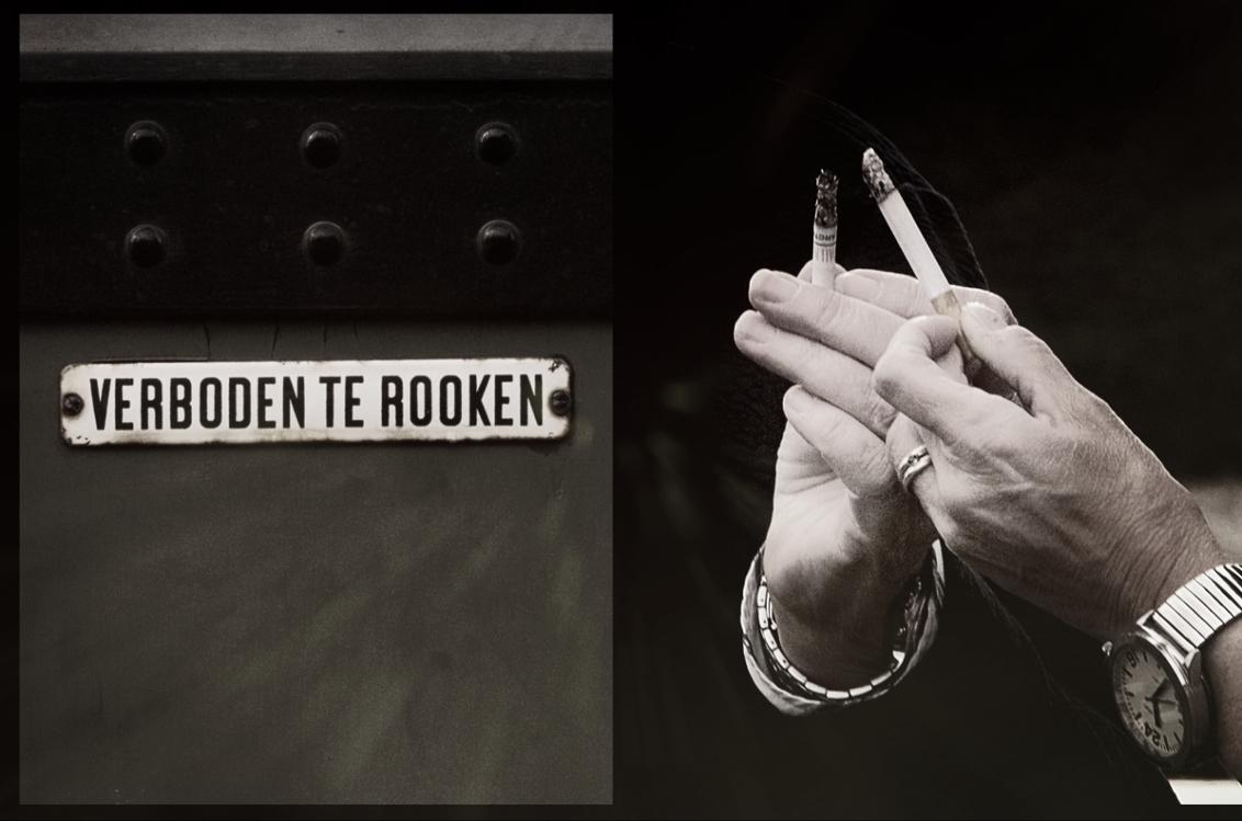 verboden te rooken - - - foto door onne1954 op 13-11-2018 - deze foto bevat: mensen, donker, licht, trein, urban, roken, sigaret, details
