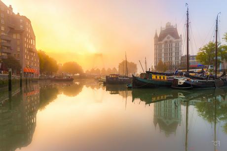Oude Haven in het ochtendmist