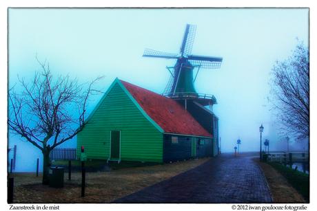 foggy windmill