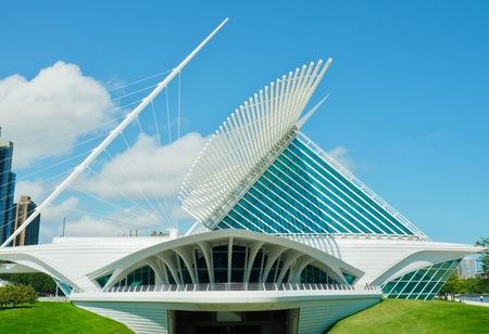 Art museum in Milwaukee VS - - - foto door Patrick1_zoom op 26-02-2021 - deze foto bevat: abstract, architectuur, gebouw, stad, museum