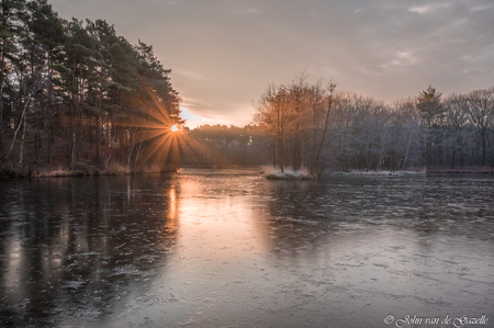 Zonsopkomst bij de Koffiepoel op de Brunssummerheide - Zonsopkomst bij de Koffiepoel op de Brunssummerheide.  Bedankt, voor jullie fijne reacties. Groet, John. - foto door JvandeGazelle op 17-12-2020 - deze foto bevat: lucht, wolken, zon, water, natuur, licht, herfst, rijp, ijs, spiegeling, landschap, mist, heide, bos, nevel, tegenlicht, zonsopkomst, bomen, meer, koud, limburg, zonnestralen, ven, bevroren, ijzig, brunssum, morgenrood, sfeervol, zonnegloed, brunssummerheide, john van de gazelle, koffiepoel