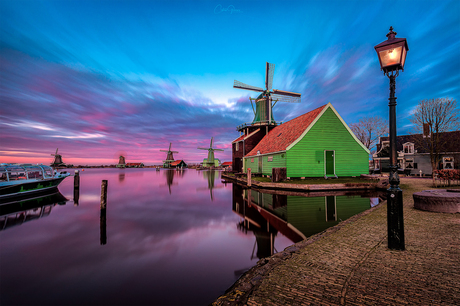 Colorful sunset at the windmill village