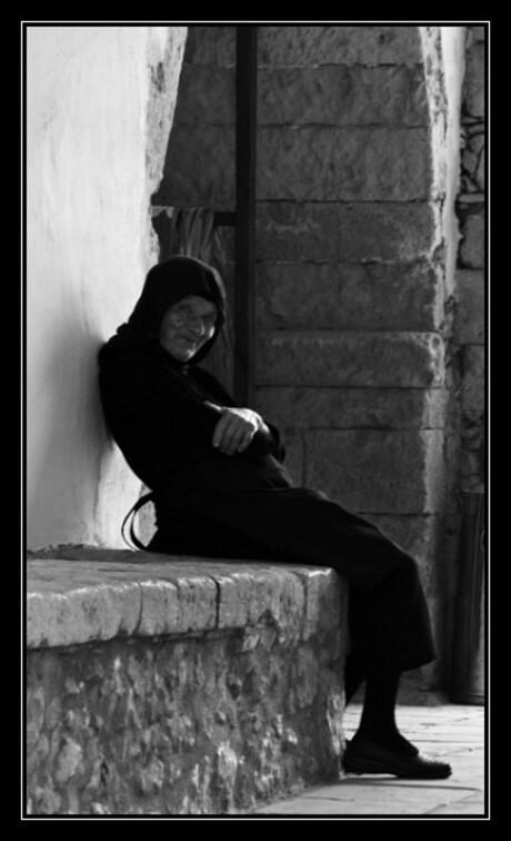 Oude non in Arkadi klooster, Kreta