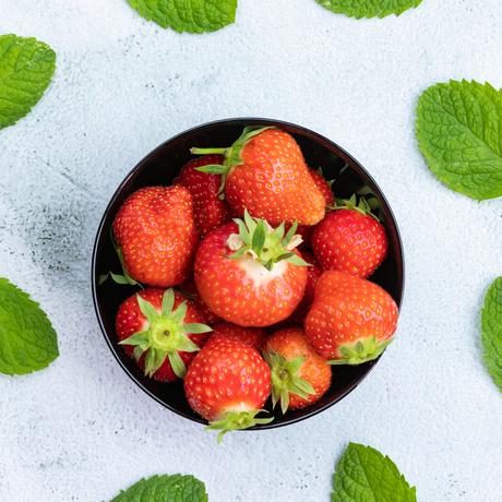 Aardbeien met munt