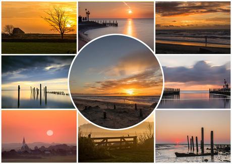 Texelse zonsopkomst-ondergang collage