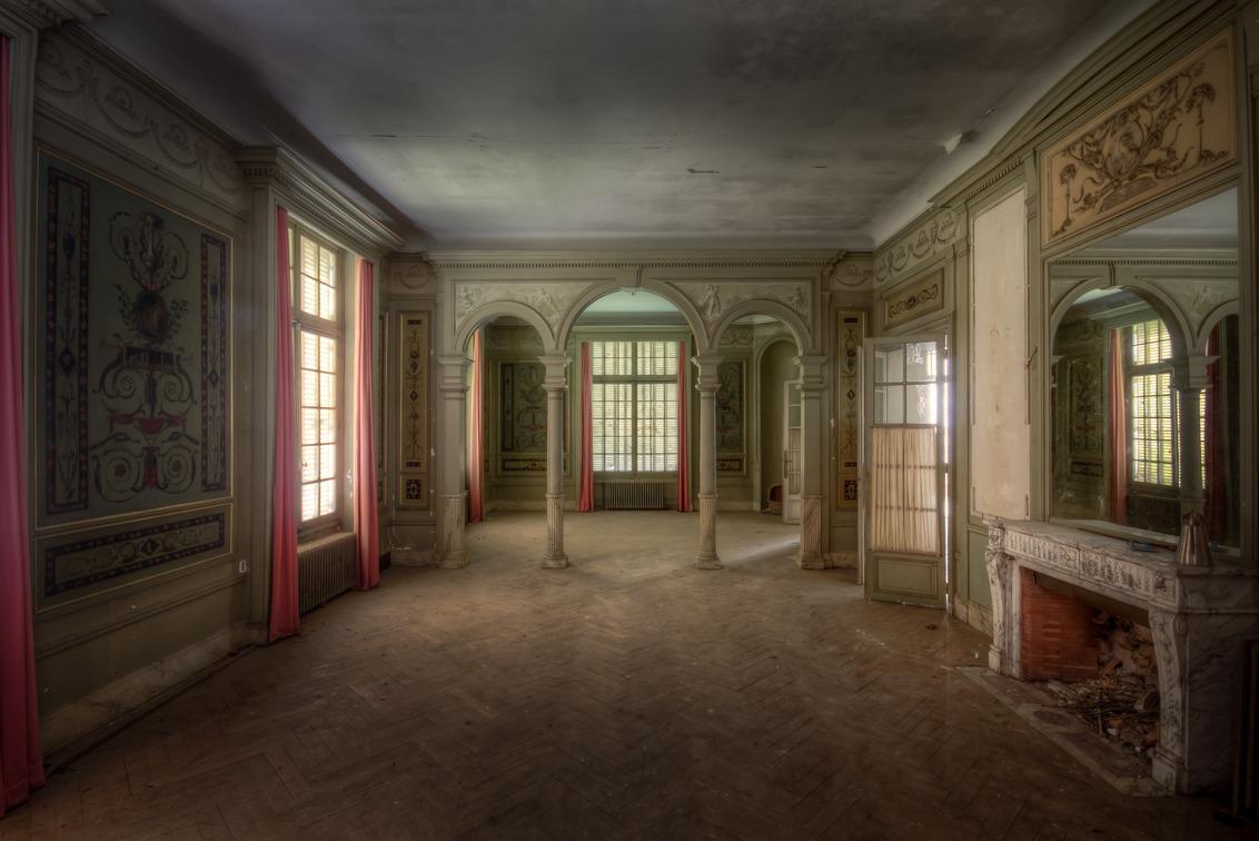 Sprookjes kamer - Een prachtige en sfeervolle kamer in een verlaten kasteel in Frankrijk - foto door Juized op 30-07-2014 - deze foto bevat: kasteel, urban, ontwerp, verlaten, hdr, verval, pilaren, urbex, urban exploring