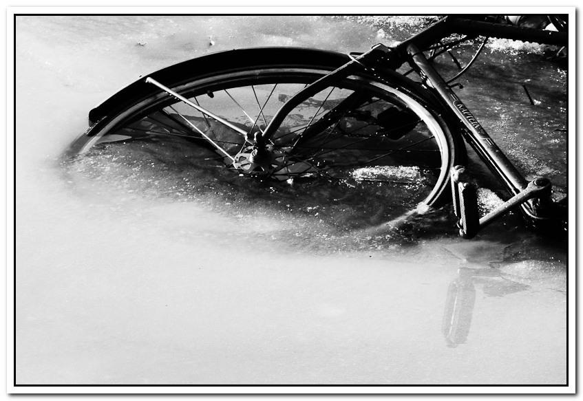 Scenes from winter - part 5 - Op tweede kerstdag bij de wandeling langs het Inundantiekanaal in Tiel ook dit tafereel gezien. Het is een detail in zwart-wit van een eerder geplaat - foto door art1000 op 11-01-2011 - deze foto bevat: wiel, winter, fiets, ijs, kanaal, tiel