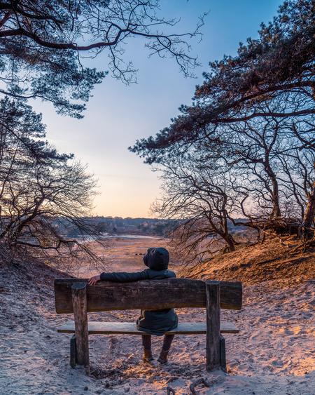 Wachten op de fotograaf - Ze wacht altijd geduldig op me, een foto hier, minuutje daar en ook even daar kijken! Mijn lieve vrouw!  XXX - foto door P-Philip op 21-04-2021 - deze foto bevat: veluwe, nederland, kleur, zonsondergang, hdr, vrouw, zand, bomen, uitzicht, natuur, wolk, lucht, fabriek, buitenbank, ecoregio, mensen in de natuur, natuurlijke omgeving, hout, natuurlijk landschap, plantkunde