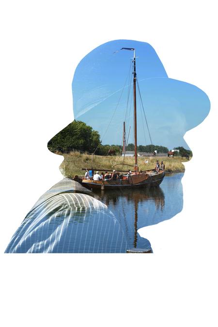Zeeuwse Schouw - Double exposure photoshop - foto door Kapole op 10-04-2021 - deze foto bevat: boot, voertuig, waterscooters, naval architectuur, mast, boten en varen - uitrusting en benodigdheden, verf, water, zeilboot, schilderen