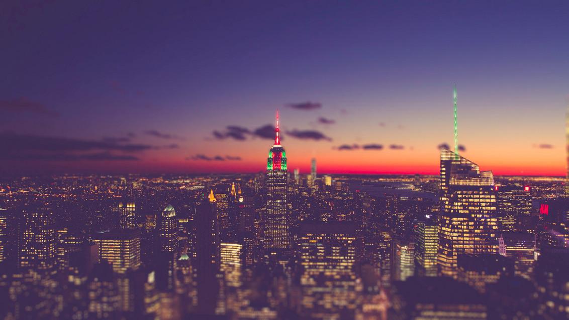 New York Sky line Tilt-Shift - - - foto door lk123456789 op 25-03-2015 - deze foto bevat: zonsondergang, canon, nyc, zonlicht, tilt-shift, New York, sky line