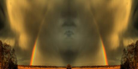 gezicht tussen regenbogen
