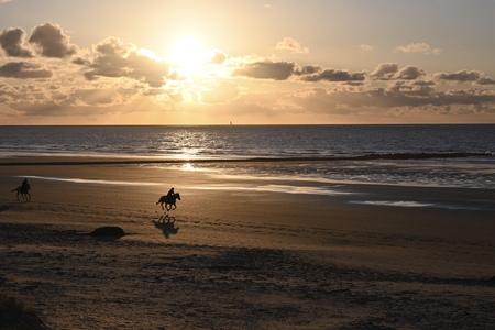 Zee-Paard - Galop bij zonsondergang - foto door NelleB op 14-04-2021 - locatie: Middelkerke, België - deze foto bevat: zee, kust, zonsondergang, wolken, paard, wolk, water, lucht, atmosfeer, dag, nagloeien, licht, strand, mensen in de natuur, zonsondergang