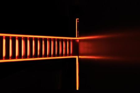 Zolverein Staircase Rem Koolhaas-16 - - - foto door jaapcoorens op 26-10-2015 - deze foto bevat: red, licht, lijnen, architectuur, yellow, fabriek, orange, stairs, steel, staircase, urban exploring, Zolverein, Rem Koolhaas, molted, flowing