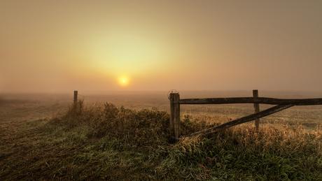 Mistige zonsopgang.