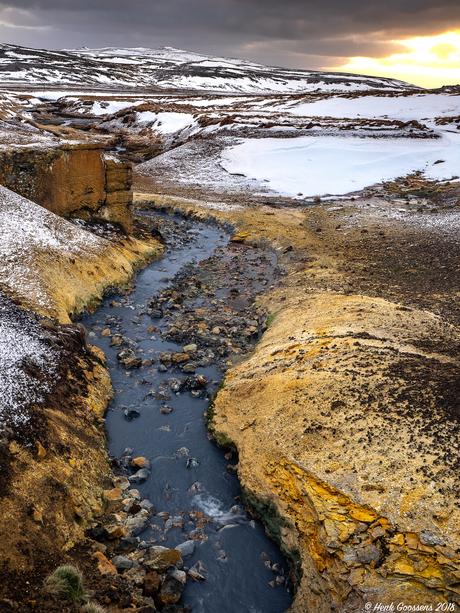 Hot stream in the snow