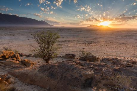 Zonsopgang in Namibië
