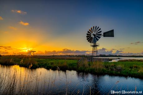 Zonsondergang bij het Nationaal Park de Alde Feanen!