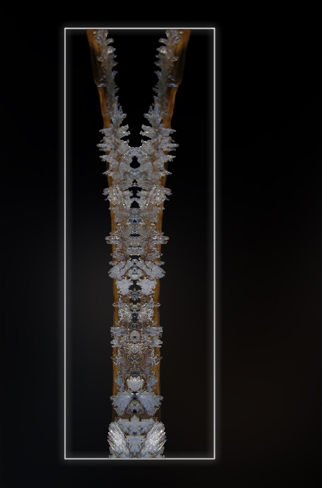 IJs Totem - Een deel van een foto wat bewerk en uitgesneden. En dit deel heb ik gespiegeld. En had daar om deze naam gekozen. - foto door wimida op 20-02-2009 - deze foto bevat: ijs, spiegeling, bewerking, totem