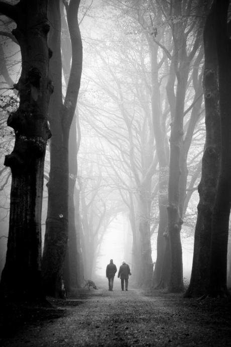 Walking the dog zwartwit