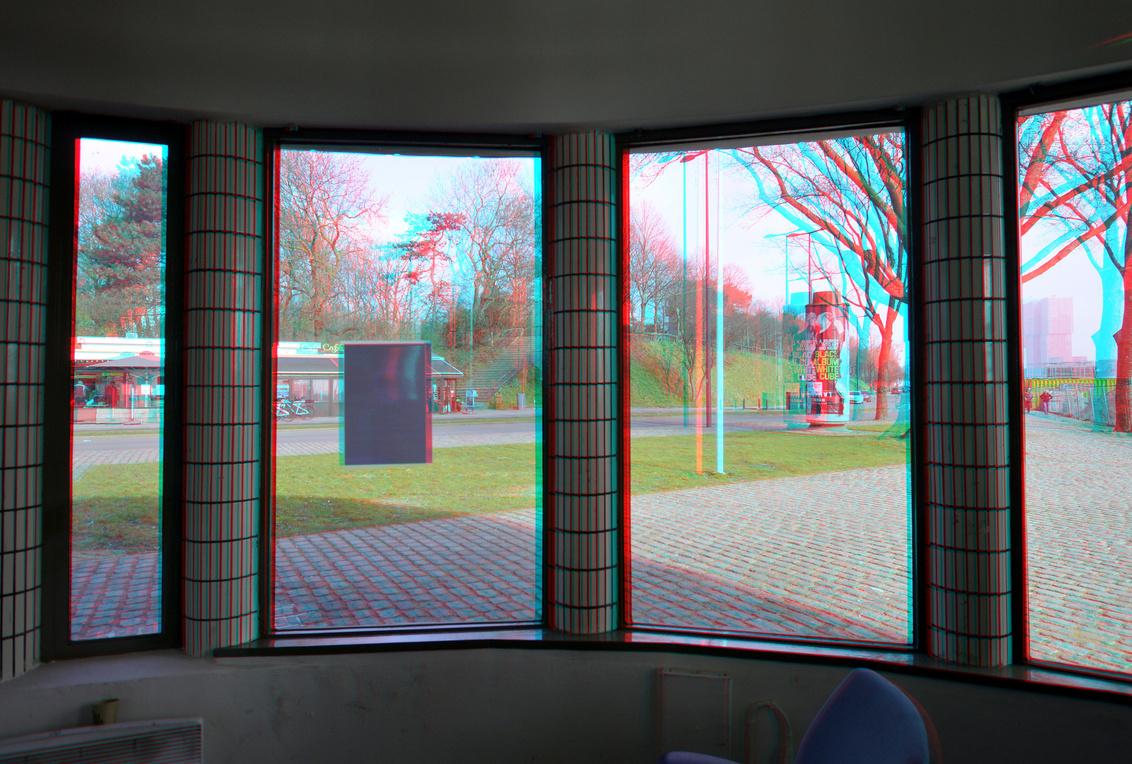 Maastunnel Rotterdam 3D anaglyph - 3D anaglyph stereo red/cyan parkkade maastunnel - foto door hoppenbrouwers op 02-03-2021 - deze foto bevat: ramen, rotterdam, 3d, window, anaglyph, stereo, maastunnel, parkkade, red/cyan