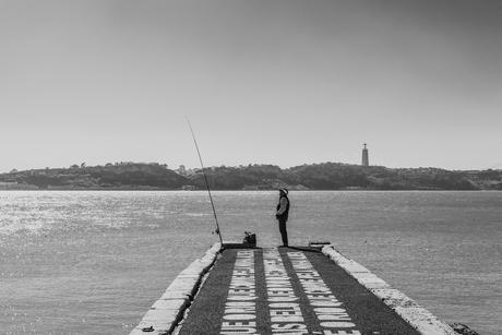 Alleen op de pier