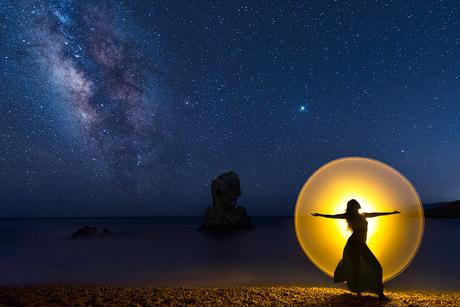 Lightpainting op het strand