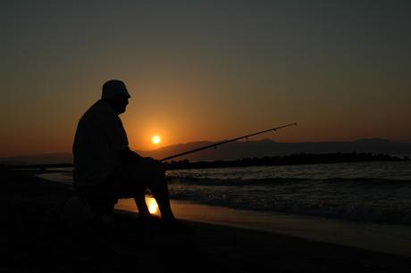 eenzame visser op Kreta
