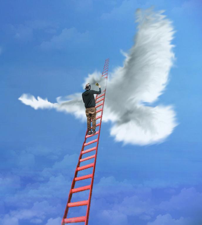 Wolkenbeeldhouwer 1 - - - foto door jopper op 26-10-2014 - deze foto bevat: lucht, wolken, rood, wit, blauw, contrast, ladder, beeldhouwen, jopper, dixit