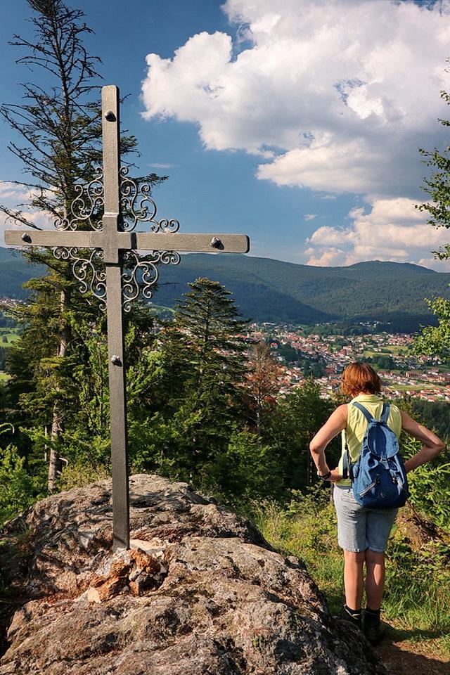Bayerischer Wald - Rondwandeling om de Riederin Berg,  het hoogste uitzichtpunt van onze wandeling.   5 juni 2018 Groetjes Bob. - foto door oudmaijer op 10-04-2021 - deze foto bevat: wolk, lucht, fabriek, berg, ecoregio, azuur, boom, bagage en tassen, mensen in de natuur, natuurlijk landschap
