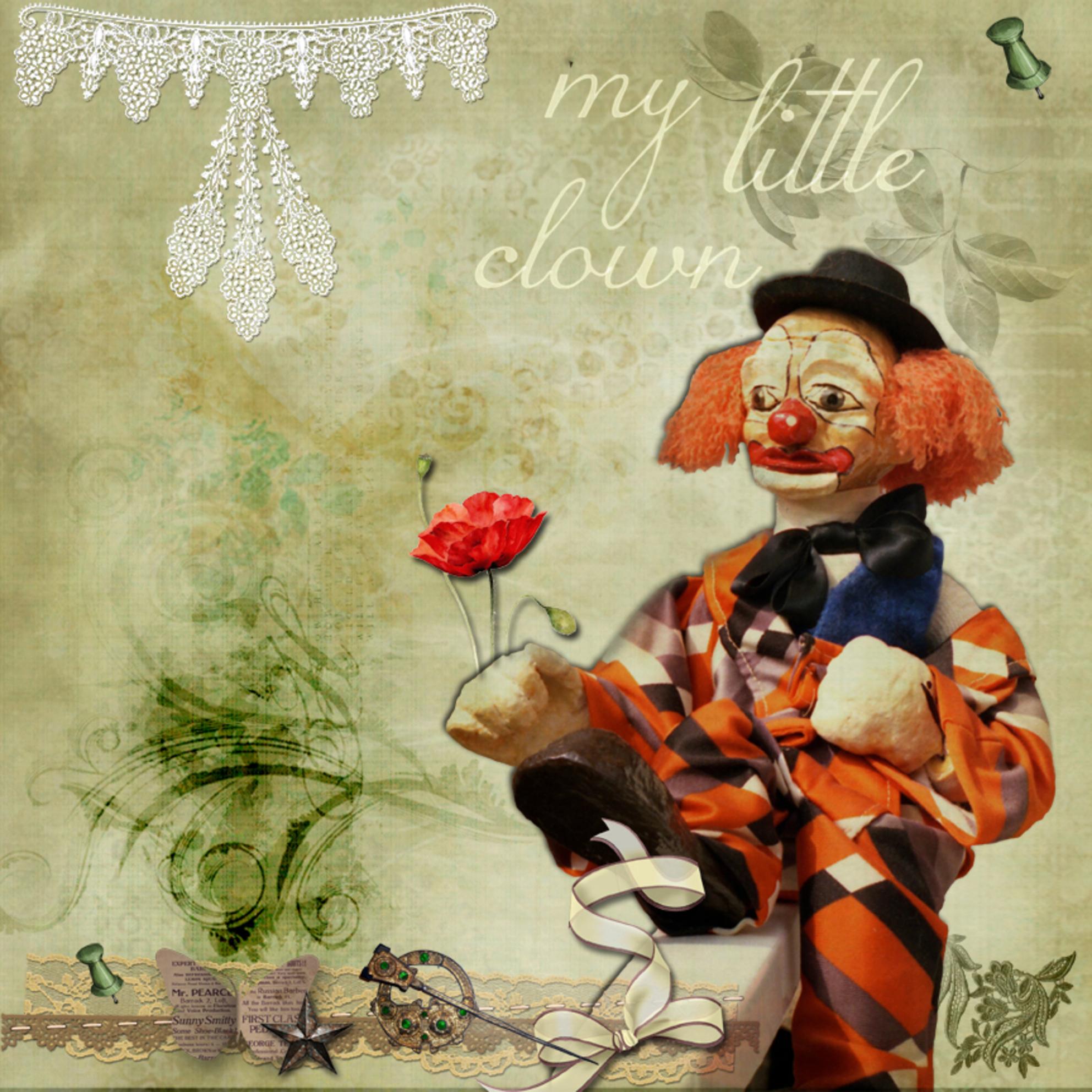 Mijn eigen clown - Jaren geleden (minsten 25 jaar) heb ik deze clown gemaakt, en hij zat altijd in de woonkamer. Maar om een gegeven moment vond mijn Bouvier Runa het t - foto door wimida-wil op 02-02-2014 - deze foto bevat: kleuren, bewerking, clown