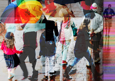 Rainy day street life.