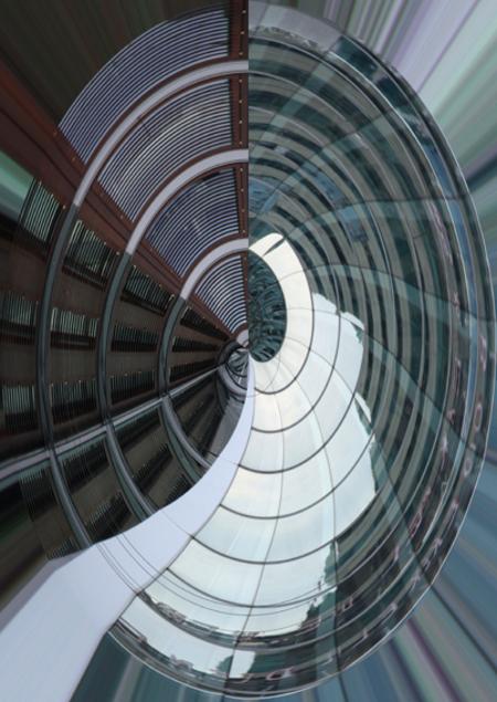 zuidas2 - Door het toepassen van het filter poolcoördinaten veranderen de strakke lijnen in een draaikolk. - foto door l.wolffensperger op 09-08-2011 - deze foto bevat: gebouw, zuidas, draaikolk