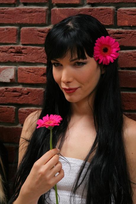 Flower in her hear