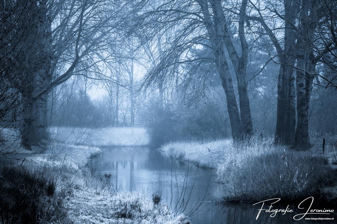 """Koude winterochtend bij de Watermolenbeek (Roosendaal) - Op een vroege mistige winterochtend heb ik de kou getrotseerd om een foto van """"mijn achtertuin"""" te maken.  Zeker in deze koude weersomstandigheden  - foto door FotografieJeronimo op 06-02-2020 - deze foto bevat: water, natuur, ochtend, winter, spiegeling, landschap, mist, brabant, bomen, kou, fotografie, roosendaal, watermolenbeek, Jeronimo"""