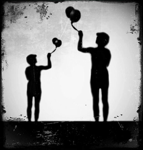 The balloon man and his child...