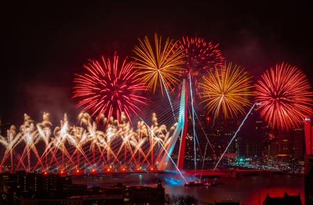 Nationale Vuurwerk Rotterdam - Een foto van het Nationale Vuurwerk in Rotterdam. Deze foto is geschoten vanaf de Euromast. - foto door Ariscaa op 01-01-2020 - deze foto bevat: fireworks, rotterdam, licht, nieuwjaar, avond, landschap, tegenlicht, erasmusbrug, vuurwerk, lange sluitertijd, nationale vuurwerk, 2020