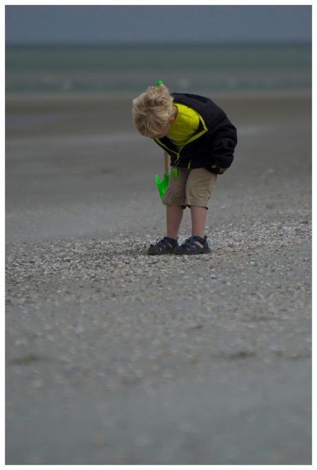 Joel aan het schelpjes zoeken
