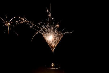 Martiniglas met sterretjes