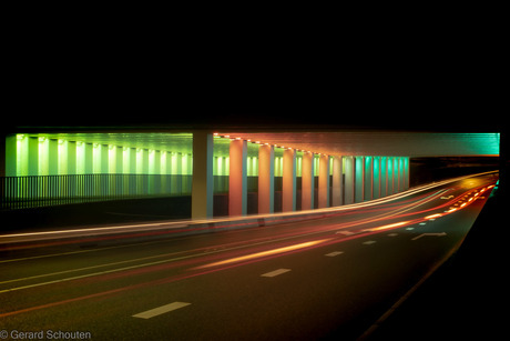 Spoortunnel Zutphen changing colours
