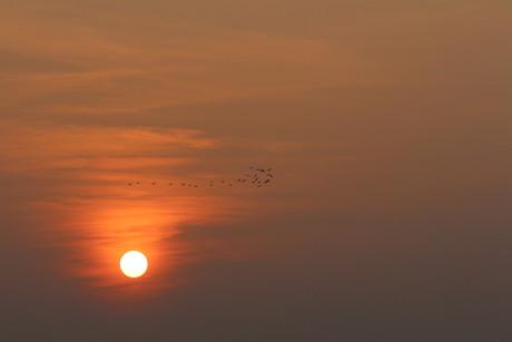 zonsondergang op de 1e warme lente avond