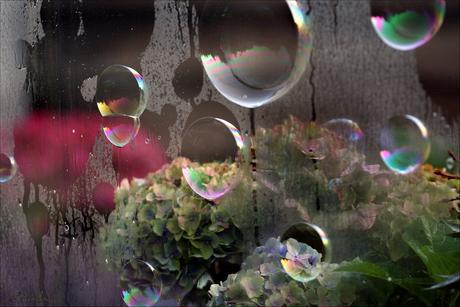 zeepbellen op raam...