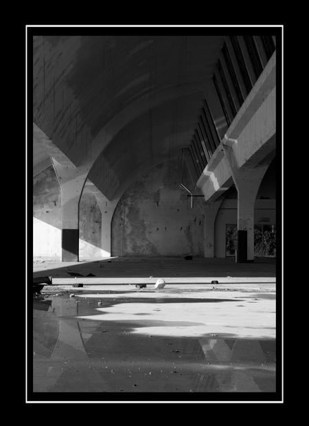 Urban Decline - oude fabrieks hal....  gestript tot op het bot! - foto door Sunjohan op 22-03-2009 - deze foto bevat: reflectie, fabriek, hal, zwart-wit