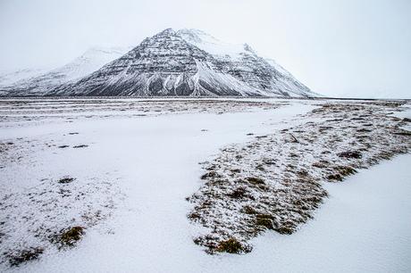 IJsland, landschap na sneeuwbui