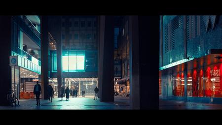 Urban Forest - [view full screen in a dark setting] - foto door CHRIZ op 03-01-2019 - deze foto bevat: mensen, straat, licht, avond, stad, eindhoven, film, straatfotografie, 35mm, cinematic, cinematic street