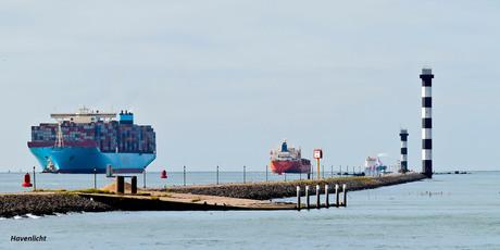 4) Binnenkomend Container schip en vertrekkend vrachtschip_DSC8077